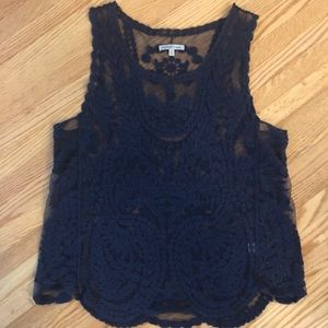 Navy Floral Lace Sheer Tank Top